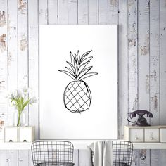 Pineapple Print, Kitchen Art, Black and White Art, Large Wall Art, Pineapple Decor, Sketch Art, Printable Wall Art, Digital Download Art by HappyCatDownloads on Etsy https://www.etsy.com/uk/listing/233783572/pineapple-print-kitchen-art-black-and