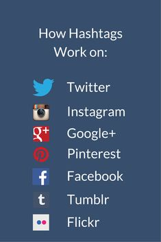 How Hashtags Work on Twitter, Instagram, Google Plus, Pinterest, Facebook, Tumblr, and Flickr #hashtags