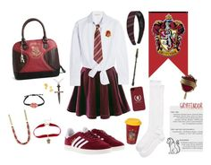 """""""Hogwarts uniform 2017 - gryffindor (usual day)"""" by maddigrace-ccc ❤ liked on Polyvore featuring Maje, Kate Spade, adidas, Warner Bros., Torrid and Cufflinks, Inc."""