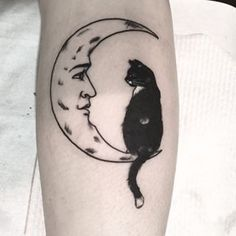 cat in the moon tattoo - Google Search