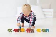Wooden Elephants Puzzle with Numbers, Educational Toy for Children, Montessori Toy, Jigsaw Puzzle, Brain Teaser, Handmade Toy, Toddler Gift