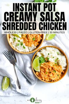 Creamy Salsa Instant Pot Chicken is a healthy quick & easy dinner.  Made in under 30 minutes, it's a creamy and spicy chicken dinner that's gluten-free, dairy-free and even Paleo and Whole30!  Ana Ankeny - Healthy Recipes  #instantpotchicken #salsachicken #creamysalsachicken #instantpotshreddedchicken #mexicanchicken #quickandeasychicken