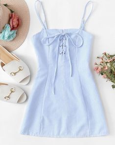 Lace Up Striped Cami DressFor Women-romwe trendy outfits Lace Up Striped Cami Dress Cute Casual Outfits, Cute Summer Outfits, Casual Dresses, Casual Clothes, Clothes Women, Trendy Dresses, Teen Fashion Outfits, Girl Outfits, Fashion Dresses