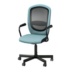 IKEA - FLINTAN / NOMINELL, Swivel chair with armrests, turquoise, , You can lean back with perfect balance, as the tilt tension mechanism automatically adjusts the resistance to suit your weight and movements.You sit comfortably since the chair is adjustable in height.Your back gets support and extra relief from the built-in lumbar support.Increased stability with the lockable tilt function.The mesh material of the backrest lets air through to your back during long sitting periods.The…