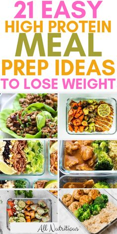 These healthy recipes are high in protein, they're great for meal prep. These are some of the best meal prep recipes for busy people who try to lose weight. prep recipes 21 Easy High Protein Meal Prep Ideas to Lose Weight Easy High Protein Meals, High Protein Low Carb, High Protein Recipes, Protein Foods, High Carb Meals, High Protein Diet Plan, High Protein Dinner, Diet Foods, High Protein Vegan Meals