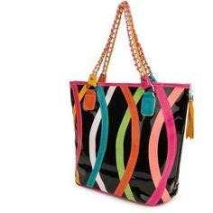 Women's Harmony Stripe Design Tote Bag, Multicolor
