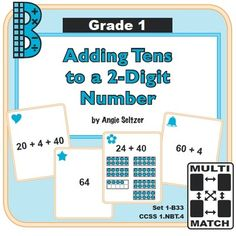 Multi-Match Game Cards 1B: Adding Tens to a 2-Digit Number from K-8 MathPaths on TeachersNotebook.com -  (10 pages)  - This set of printable game cards will help students understand how to add tens to a 2-digit number (CCSS 1.NBT.4). Games are great for small groups.