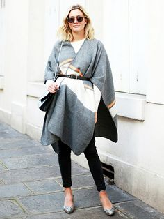 Anne-Laure Mais of Adenorah in fall's biggest trend: a belted blanket coat