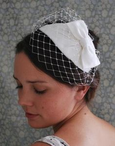 Bridal Birdcage veil and headpiece with bow1940s1950s by AgnesHart