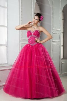 28ba7b43f6f 2013 Hot Pink Sweet 16 Dress Ball Gown Sweetheart Tulle Beading Floor-length  Sweet 15