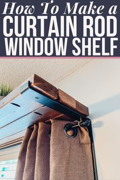 A DIY tutorial for how to frame a wall with an over the window shelf and hang curtains at the same time. A simple + easy tutorial for building a window shelf curtain rod combo perfect for plants, decor or nothing at all. Diy Curtains, Hanging Curtains, Gypsy Curtains, Homemade Furniture, Diy Furniture, Furniture Design, Cadre Diy, Window Shelves, Shelf Over Window