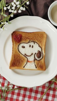 Snoopy toast - The toasted brown color is the character ♪ - Vegan Bean Recipes, Vegetarian Breakfast Recipes, Cafe Food, Aesthetic Food, Perfect Food, Creative Food, Food Presentation, Food Videos, Kids Meals