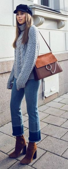 Kenza Zouiten + simply stylish + chunky knitted sweater + cropped jeans + heeled suede boots + hat of your choice to get that fresh feel which Kenza has achieved!   Jeans/Sweater: Ivy Revel, Boots: Zara.... | Style Inspiration