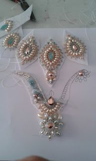 Shows the process of making a bead embroidered jewelry piece.