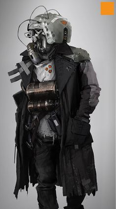 """Incredibly Cool Original Sci-Fi Character Designs — GeekTyrant Giant trench coat gives the character a cool """"in disguise"""" vibe."""