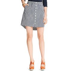 Tommy Hilfiger women's skirt. Our pencil skirt dressed in stripes with a glinting silver zipper at the back, shaped and seamed to figure-flattering perfection.