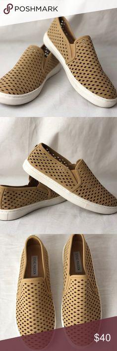 4904bad048023c Steve Madden Zeena Camel Slip-On Sneaker. Size  Women s 9 Round toe Dual  side goring Perforated upper Slip-on Steve Madden Shoes Sneakers