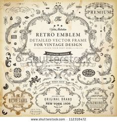 Stock Vector Set Of Calligraphic Design Elements Page Decoration Premium Quality And Satisfaction Guarantee Label Antique Baroque Frames