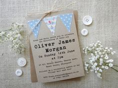 Handmade Christening invitation Baptism Naming Day by PaperFudge