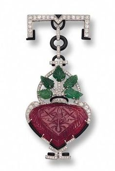 Carved Ruby and Emerald, Diamond, Onyx and Enamel Pendant Brooch - Sotheby's