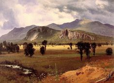 """Painting of the Day - Albert Bierstadt """"Moat Mountain Intervale"""", New Hampshire, Oil on Canvas, Landscape Art, Landscape Paintings, Landscape Photography, New Hampshire, Gouache, Albert Bierstadt Paintings, Carl Spitzweg, Hudson River School, Tropical Landscaping"""