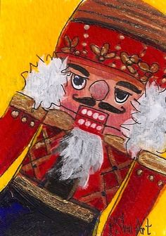 #ACEO TW FEB #Nutcracker #Painting RED #Soldier #Christmas #Toy Art Penny Lee StewArt #IllustrationArt
