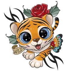 Cartoon Tiger, Cute Cartoon Animals, Cartoon Pics, Cartoon Unicorn, Cute Tigers, Boy Illustration, Kids Prints, Typography Prints, Woodland Animals