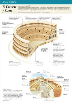 "Infografias educativas: ""El Coliseo de Roma"" Rome History, History Facts, World History, Ancient History, Art History, Roman Architecture, Ancient Architecture, Ancient Rome, Ancient Greece"