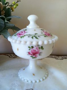 CONOSILATED CON CORA GLASS | SALE (Was 50.00) Milk Glass Candy Box with Lid Consolidated Con Cora ...