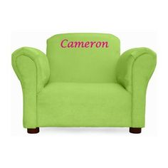 Little Furniture Personalized Kid S Microsuede Mini Chair Color Green