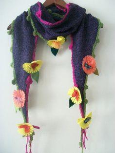 OOAK, Hippie scarves,purple hippie shawl,flowers hippie scarf,boho scarves, shabby scarf, women's accessories, women's fashion, purple shawl