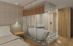 CJC Interior Design | Hotel Crowne Plaza | Bedroom and Bathroom | Elegant | Timeless | Wood | Algarve