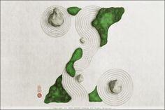 Yoriko Yoshida : A to Z of Japan – Trendland Online Magazine Curating the Web since 2006 Zen Garden Design, Japanese Garden Design, Landscape Design, Japanese Prints, Japanese Art, Garden Drawing, Garden Art, Ryoanji, Bedroom Drawing