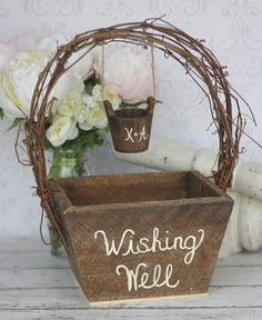 Wedding Guest Book Alternative Wedding Rustic Personalized Wishing Well Basket.