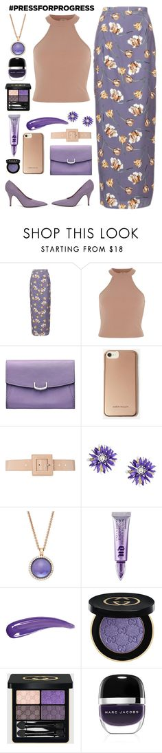 """Senza titolo #7300"" by waikiki24 ❤ liked on Polyvore featuring Cartier, Karen Millen, B-Low the Belt, Moschino, Roberto Coin, Urban Decay, Gucci, Marc Jacobs, purplepower and internationalwomensday"