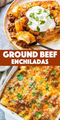 These GroundBeef Enchiladas are so tasty and easy, you'll never go back to canned enchilada sauce. Corn tortillas filled with flavorful ground beef, melty cheese and a killer homemade red enchilada sauce. Lunch Recipes, Easy Dinner Recipes, Beef Recipes, Easy Meals, Cooking Recipes, Dinner Ideas, Chicken Recipes, Ground Beef Enchiladas, Red Enchiladas