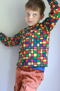 Vintage boys shirt knit long sleeved geometric print by fuzzymama