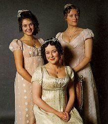 Jane, Elizabeth, and Lydia Bennet. I love all of their dresses, but especially Jane's.