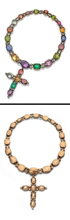 A late George III coloured stone riviere necklace, and detachable cruciform pendant. The cut down gold collets mounted with assorted stones including sapphires, emeralds and rubies. Each collet joined by a pair of links each set with a cushion shaped diamond. The necklace 37cm, the pendant 6.5cm high. Fitted case by S.J. Phillips, 139 New Bond St.