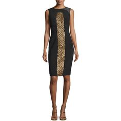 Theia Sleeveless Beaded Cocktail Dress featuring polyvore women's fashion clothing dresses sheath dress sleeveless beaded dress sleeveless dress sheath cocktail dress beaded dress