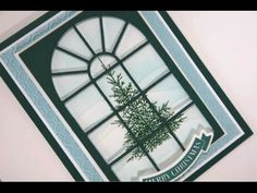 Merry Christmas Tree Card Project. Window pane & glittered pine tree with inked snow banks. - YouTube