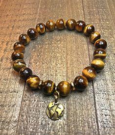 Earth charm bracelet mens bracelet beaded bracelet stretch