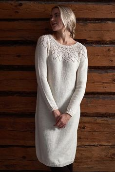 Free Knitting Pattern for a Women& Lace Yoke Dress. - Free Knitting Pattern for a Women& Lace Yoke Dress. Lace Knitting, Knitting Patterns Free, Knitting Dress Pattern, Free Pattern, Pattern Ideas, Knit Dress, Lace Dress, Pullover Outfit, Short Beach Dresses