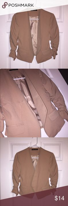 NWOT Open Fitted Tan Blazer w/ Ruched Sleeves Purchased at Macy's. New, never worn. Shorter fit, but not cropped. Open style, Ruched 3/4 sleeves. Looks great with any pairing! Jackets & Coats Blazers