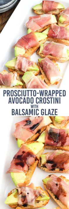 These prosciutto-wrapped avocado crostini are an easy appetizer recipe ...