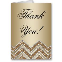 Gold Party Thank You Card Chevron Glitter