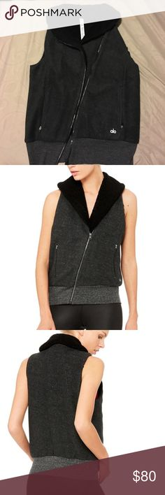 Alo - Flat Iron Vest Super soft sherpalined moto-inspired vest from Alo. Very warm and stylish - features a forward, asymmetrical zip. Size S - Brand New ALO Yoga Jackets & Coats Vests