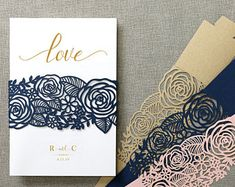 Elegant rose flowers laser cut belly band wedding invitations cards All in one wedding invitation RSVP Free Envelope Seal - SW7097