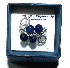 anello in metallo placcato argento e lapislazzuli