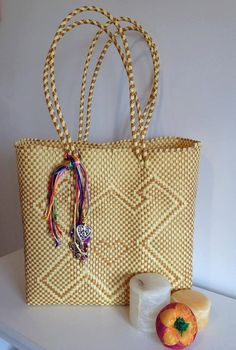 Handmade woven plastic tote bag mexican by Miamorcitocorazon